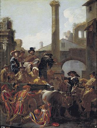 Bamboccianti - Roman Carnival by Jan Miel, 1653