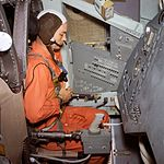 Mike Collins during centrifuge training.jpg