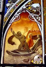 Milano - Vetrata ottocentesca del Museo Poldi Pezzoli - Caronte - Foto Giovanni Dall'Orto - 14-sept-2003