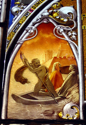 Phlegyas - Phlegias with Dante and Virgil, stained glass in Museo Poldi Pezzoli in Milan