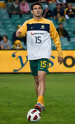 Mile Jedinak - Jedinak representing Australia against Paraguay at the Sydney Football Stadium in October 2010.
