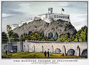 """Nathaniel Currier - """"Military College at Chapultepec"""", hand tinted lithograph published by Nathaniel Currier as a sole proprietor, c. 1847."""
