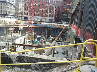 Millennium Tower (Boston) - Image: Millennium Tower construction, 2 May 2014