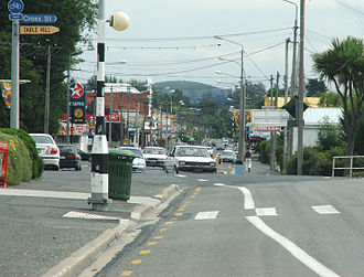 Milton, New Zealand - Cars navigate the infamous kink in Union Street, Milton