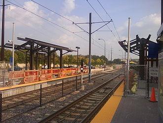 50th Street/Minnehaha Park station - 50th Street undergoing platform extension