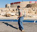 Mitzpe Ramon American tourist with Ibex at Mitzpe Ramon visitor center (15267112118).jpg
