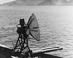 Mk 28 fire control radar on USS Nashville (CL-43) in May 1945.jpg