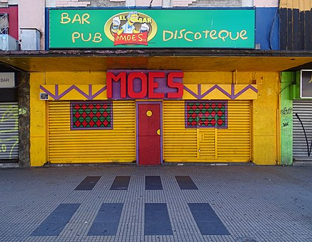 Moe's Bar in Concepcion, Chile, closely based on images from The Simpsons. MoesBarConcepcion2016.jpg
