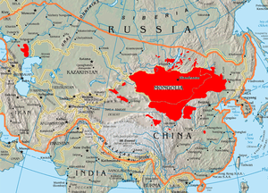 Pan-Mongolism - Concentrations of ethnic Mongols (red) within the Mongol Empire (outlined in orange)