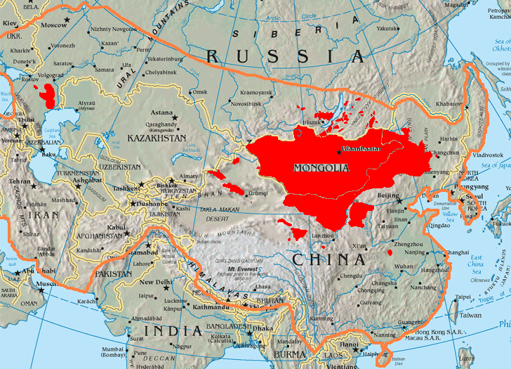 Topographic map showing Asia as centered on modern-day Mongolia and Kazakhstan. An orange line shows the extent of the Mongol Empire. Some places are filled in red. This includes all of Mongolia, most of Inner Mongolia and Kalmykia, three enclaves in Xinjiang, multiple tiny enclaves round Lake Baikal, part of Manchuria, Gansu, Qinghai, and one place that is west of Nanjing and in the south-south-west of Zhengzhou