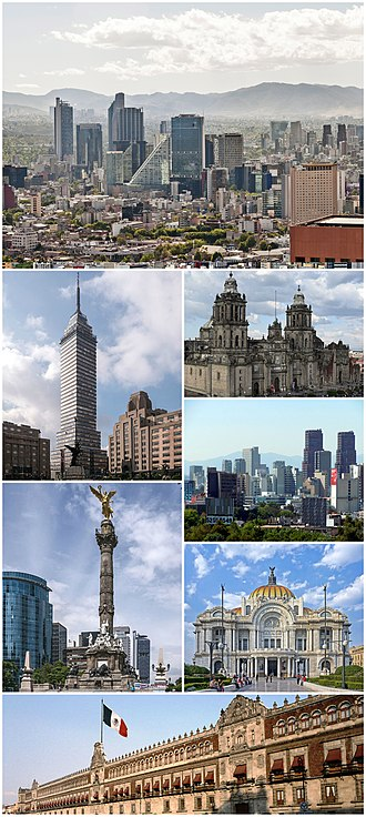 Mexico City - Clockwise from top: skyline of Paseo de la Reforma, Mexico City Metropolitan Cathedral, Skyline of Polanco, Palacio de Bellas Artes, The National Palace, Angel of Independence and Torre Latinoamericana