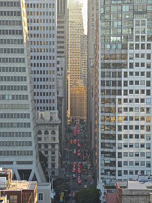 Montgomery Street - Looking south down Montgomery Street from Telegraph Hill through the Financial District