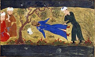 Muhammad II of Khwarazm - Death of Muhammad II of Khwarezm. From Jami' al-tawarikh by Rashid-al-Din Hamadani