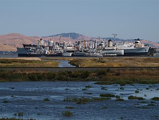 "Suisun Bay - Another view of the ""Ghost Fleet"", also known as the ""Moth Ball Fleet""."