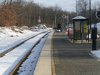 Mount Olive station - The Mount Olive station facing to the east and Netcong station. There is no signage denoting the station.