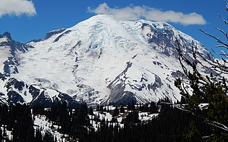 Emmons Glacier - Emmons Glacier on Mount Rainier seen from the road to Sunrise