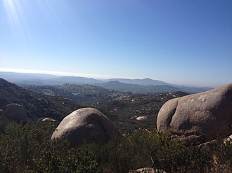 Poway, California - A view from Mt. Woodson Trail that leads to Potato Chip Rock in Poway