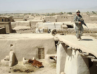 Operation Mountain Fury - A soldier searches for weapons caches in the village of Alizai in Ghazni Province, Afghanistan.