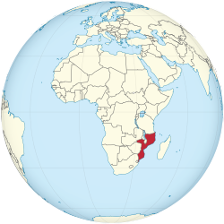 Mozambique on the globe (Africa centered).svg