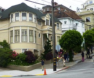 Mrs. Doubtfire - The San Francisco house used for exterior shots of the film, photographed several days after Robin Williams's death. A fan-made tribute to Williams can be seen at its front steps.