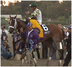 Mucho Macho Man with his jockey Gary Stevens