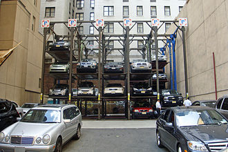 Parking lot - A parking lot in Manhattan, New York City, in 2010, with its capacity increased through multiple level stacked parking using mechanical lifts.