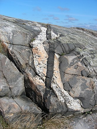 Cross-cutting relationships - A light-gray igneous intrusion in Sweden cut by a younger white pegmatite dike, which in turn is cut by an even younger black diabase dike