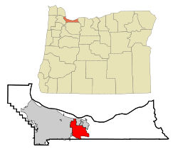 Multnomah County Oregon Incorporated and Unincorporated areas Gresham Highlighted.svg