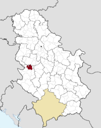 Location of the municipality of Kosjerić within Serbia