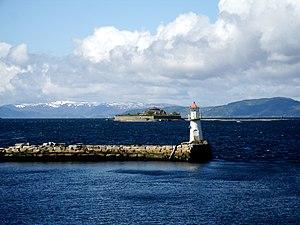Trondheim Fjord - Lighthouse and the island Munkholmen
