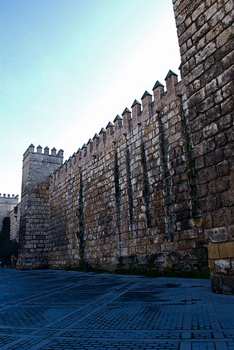 Walls of Seville - Curtain wall in the Alcazar of Seville