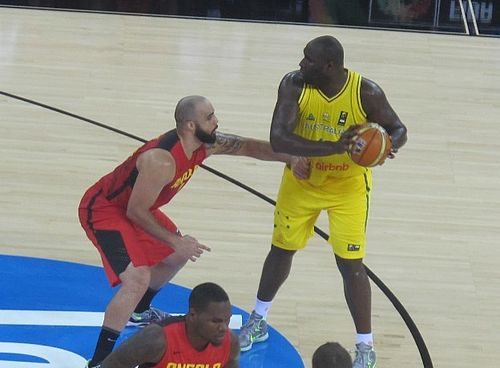 Nathan Jawai (right) represented Australia at the 2014 Basketball World Cup N.Jawai 2014.JPG