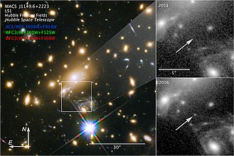 MACS J1149 Lensed Star 1 - Image: NASA Icarus Most Distant Main Sequence Star 20180402