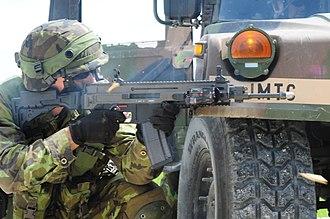 CZ 805 BREN - A Czech soldier fires his CZ 805 BREN A1 assault rifle.