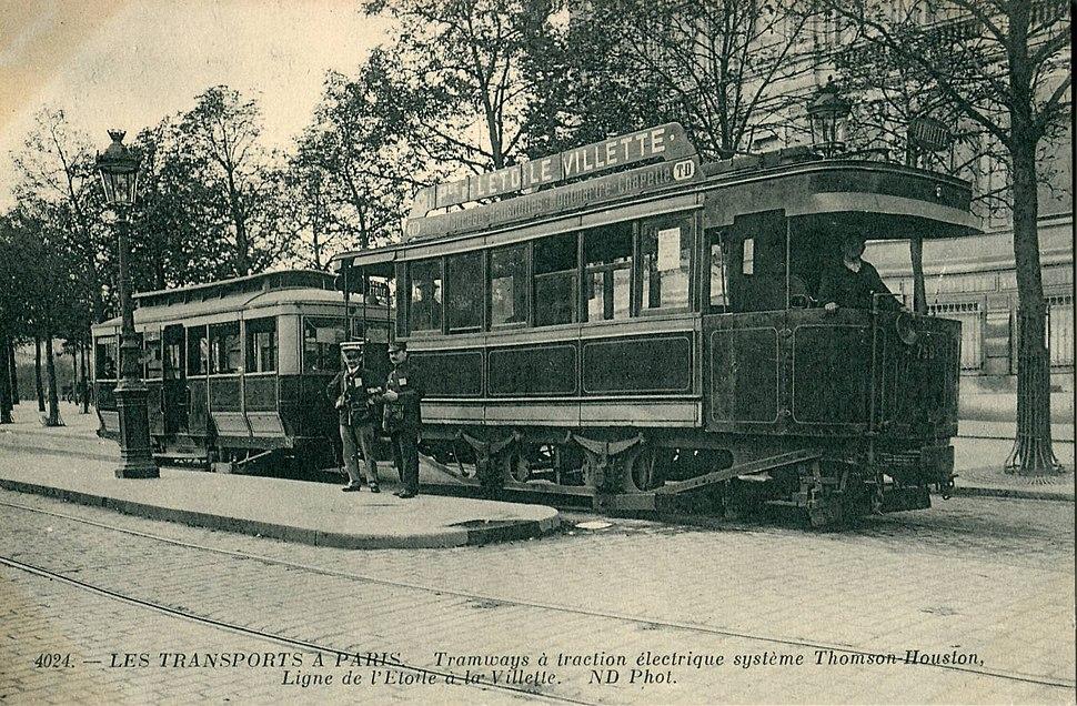 ND 4024 - LES TRANSPORTS A PARIS - Tramway à traction électrique système Thomson Houston - Ligne de l'étoile à la Vilette