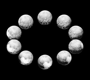 Pluto - Mosaic of best-resolution images of Pluto from different angles