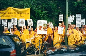"Kelsang Gyatso - 1998 Berlin New Kadampa Tradition demonstration protest against the 14th Dalai Lama. Some German slogans translated are ""You know that Dorje Shugden harms no being, please Dalai Lama stop spreading lies!"" and ""Dorje Shugden loves all Buddhist traditions, please don't lie!"""
