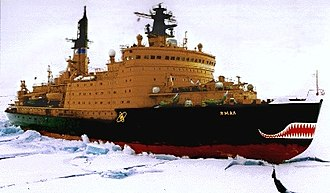 Nuclear power - The Russian nuclear-powered icebreaker NS Yamal on a joint scientific expedition with the NSF in 1994.