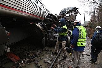 Cayce, South Carolina train collision - NTSB engineers examine the wreckage