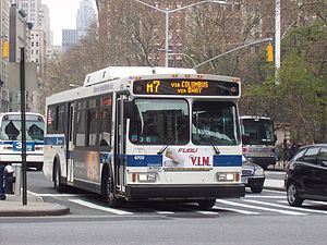 Columbus Avenue Line - An M7 bus at Madison Square Park, along which the route ran prior to 2009