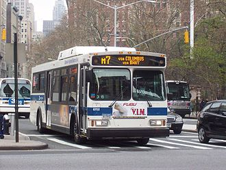 M7 (New York City bus) - An M7 bus at Madison Square Park, along which the route ran prior to 2009