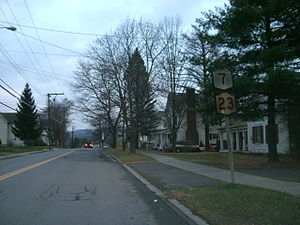 New York State Route 23 - Old shields on NY 7 and NY 23 in Oneonta