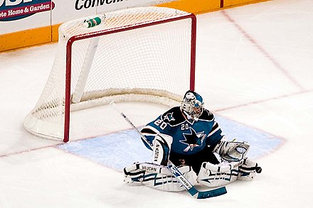 Evgeni Nabokov was awarded the Calder Memorial Trophy in the 2000-01 season. Nabokov Toe save.jpg