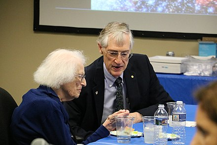 Nancy Grace Roman with COBE Project Scientist John Mather in 2017 Nancy Grace Roman with John Mather (42081744642).jpg