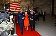 Stevens escorts former first lady Nancy Reagan at the Ronald W. Reagan Missile Defense Site dedication ceremony, April 10, 2006