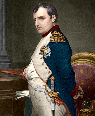Napoleon I, Emperor of the French, commanding the French forces. Napoleonbonaparte coloured drawing.png