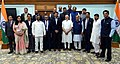 Narendra Modi with the Minister of State for Youth Affairs and Sports (IC) and Information & Broadcasting, Col. Rajyavardhan Singh Rathore and other officials.JPG