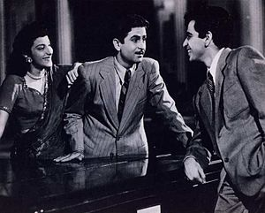 Nargis - Nargis, Raj Kapoor and Dilip Kumar in scene from ''Andaz''