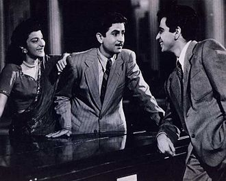 Dilip Kumar - Nargis, Raj Kapoor and Dilip Kumar in a scene from the film Andaz.