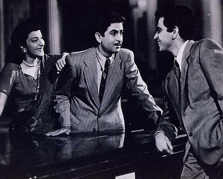 Nargis, Raj Kapoor and Dilip Kumar in Andaz (1949). Kapoor and Kumar are among the greatest and most influential movie stars in the history of Indian cinema, and Nargis is one of its greatest actresses. Nargis, Raj Kapoor and Dilip Kumar in scene from Andaz.jpg